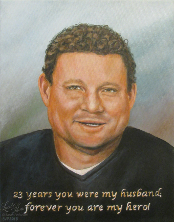 "Jack Reginald Beaton portrait, painted as a gift for his wife, whom he died protecting. ""23 years you were my husband, forever you are my hero."" Fine art on canvas."