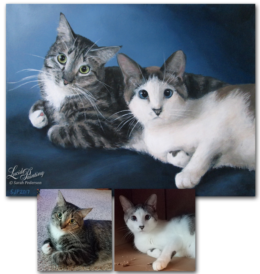 Pet portrait of two cats, taken from separate photographs and combined into one painting. Painted as a gift from one sister to another. Fine art on Canvas.