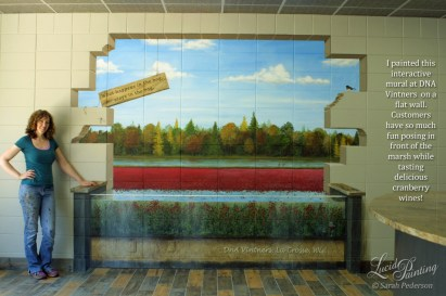 Trompe l'oeil landscape mural with cross section of cranberry marsh.