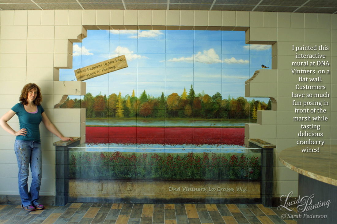 "This mural has a view of the wall breaking apart so customers can see a cranberry bog near harvest time. Fall trees in the distance and red cranberries float on the water. The bottom of the mural shows a cross section of the bog and the growth habit of the plants. Sandhill cranes are painted in the distance, a warbler is in the foreground, and a sign appears to be hanging from the frame, ""What happens in the bog, stays in the bog."""
