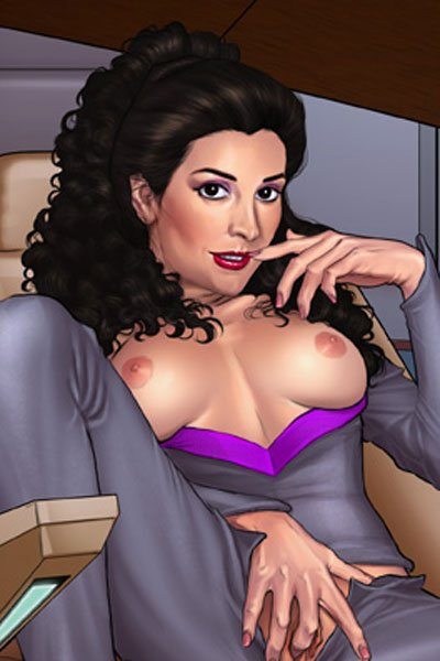 A familiar ship's counselor bares her breasts and more in the captain's chair.