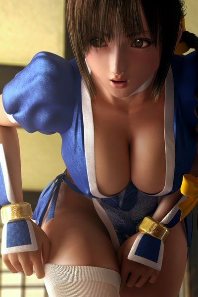 A brown-haired woman with an open blue kimono, revealing most of her large, round breasts.