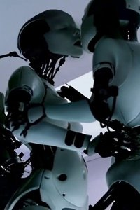 Robot Bjork passionately kissing another Robot Bjork.