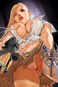 A blond woman with a machine pistol and sword towers over the viewer, her large breasts only slightly covered by her sheer white shirt,