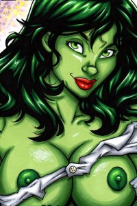 She Hulk's naked green breasts are exposed by her shredded shirt.