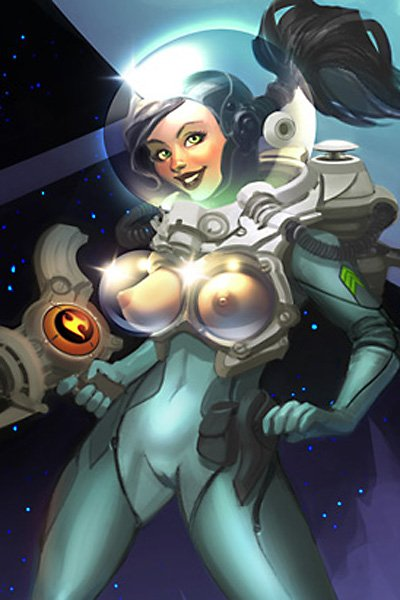 A sexy spacewalker is clearly nude in her transparent spacesuit.