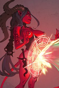 A red-skinned naked demon woman conjures a long green, probing force.
