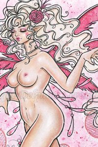 A slender fairy with blonde hair prances nude.