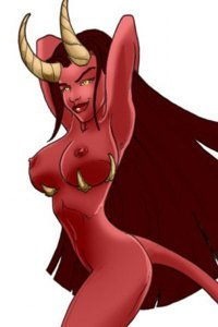 A naked red woman with large breasts and larger horns poses seductively.