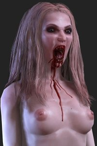 A naked vampire woman with with stringy blond hair opens her bloody fanged mouth.