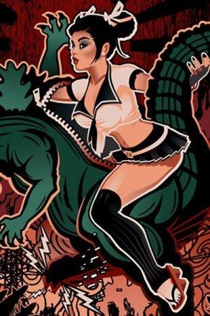 A schoolgirl in a kaijui costume destroys a city.