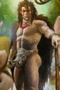 A muscular man stands regally, wearing only a fur cape and a large tusked codpiece.