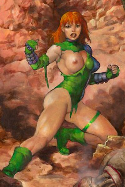 A super heroic woman stands, her breast and bottom exposed by her tattered suit.
