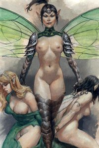 A slender, athletic fairy proudly stands nude over her stripped and bound captives.