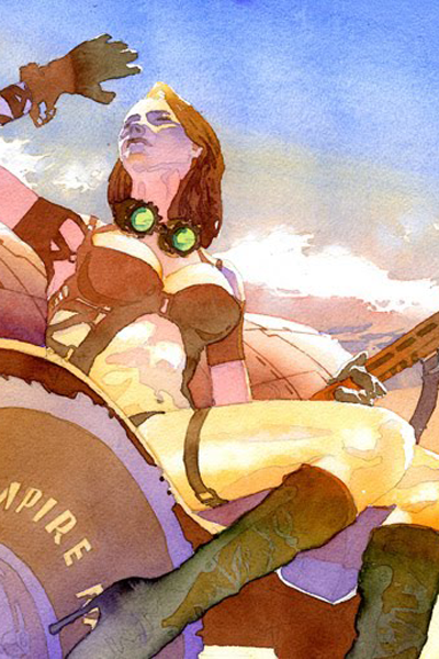 A woman in a brown leather outfit looks to the sky.