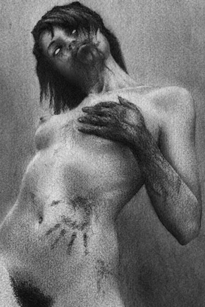 A naked zombie woman grabs one of her breasts with a bloodied hand.