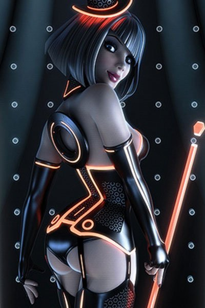 A woman wearing a corset with glowing orange lines stands with a large glowing staff.