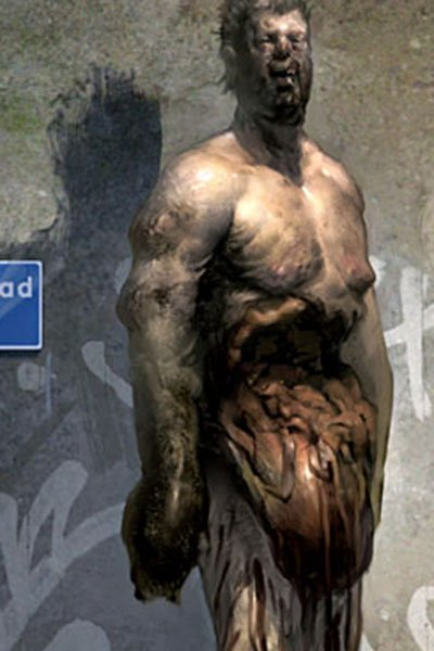 A bloody man sneers and stands unsteadily, his torso open and organs oozing out.