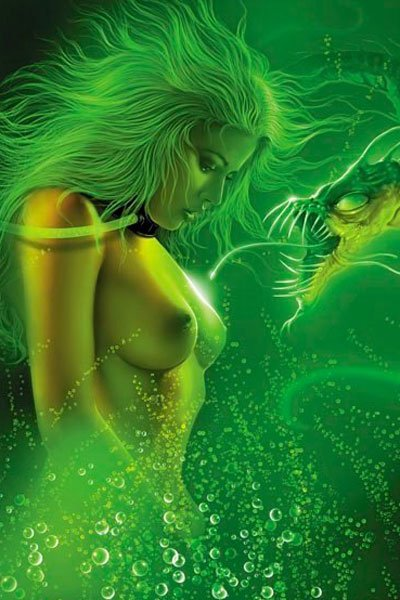 A naked woman is surrounded by a large green serpent and glowing mist.
