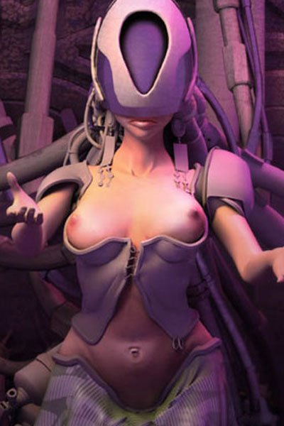 A woman with a large mechanical helmet and white corset extends her arms.