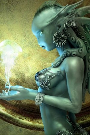 A blue woman with elaborate silver jewelry gazes at a glowing jellyfish floating above her outstretched hands.