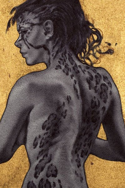 A nude woman stands, revealing leopard-like spots on her face, neck and back.