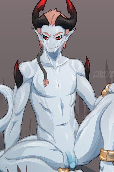 A light blue nude man with dark horns relaxes.