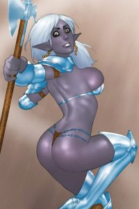 A dark elf woman with white hair and a large pole axe leaps with a wild look in her eyes.