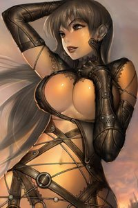 A breasty anime babe with long dark hair in black leather straps.