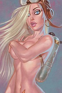 A naked blond woman with a flight cap covers her large breasts with one arm.