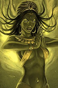 A green woman in a skimpy yellow top is bathed in eerie light.