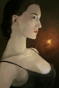 A pale woman is lit by a glowing golden ring that floats before her, still attached to her thin necklace.