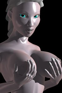 A pale nude Chinese woman cups her large breasts in her hands.