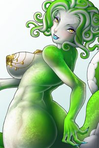 A green-skinned snake woman with large jeweled breasts and a generous posterior.