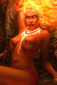 A nude woman with an ornate necklace and fiery hair.