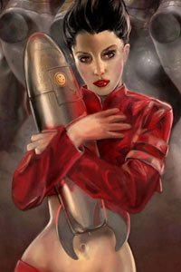 A woman in a red jacked and bare belly lovingly clutches a metal shell.