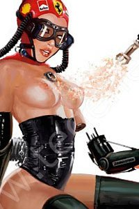 A bare-breasted woman in black leather is replacing a cybernetic arm.