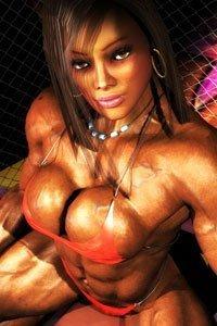A muscular woman in with an overflowing orange bikini.