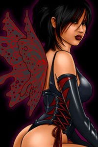 A dark-haired fairy in a black and red corset spreads her delicate wings.
