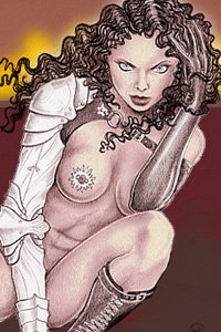 A lean woman with long dark curly hair, pieced nipples and can armored sword arm crouches.