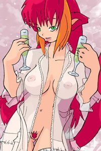 A red-haired catgirl with an open, transparent nightgown, holding two champagne glasses.