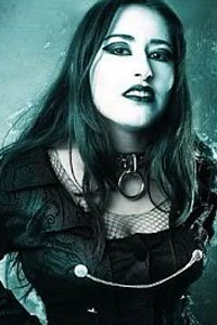 Darkly gothic Sabina Fajal in black leather.