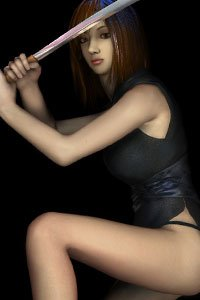A shapely woman wields a Japanese sword.