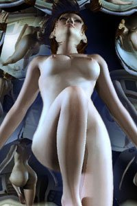 A nude woman floats in a room filled with mirrors.