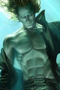 A well-muscled man eerily floats underwater.