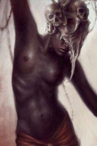 A partially-nude woman with dark skin wearing a bony bird headdress.
