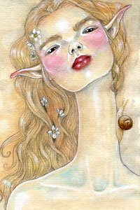A blushing lanky elf woman with a snail determinedly climbing her neck