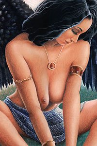 A bare-breasted woman with dark hair and dark wings sits forlornly.