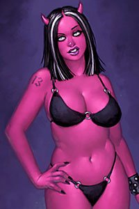 An irate, curvy demon woman in a black bikini