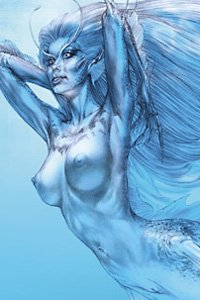 A beautiful blue mermaid stretches her supple body.